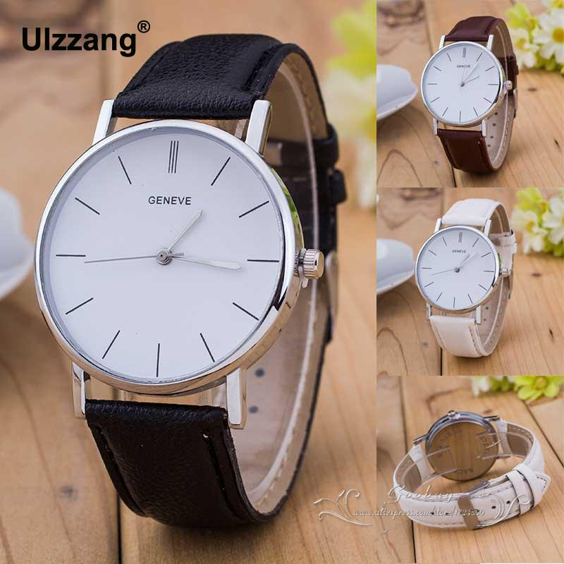 Luxury Geneve Silver Stainless Steel Round Dial PU Leather Quartz Business Dress Wrist Watch Wristwatches Gift for Men Women mini stainless steel handle cuticle fork silver