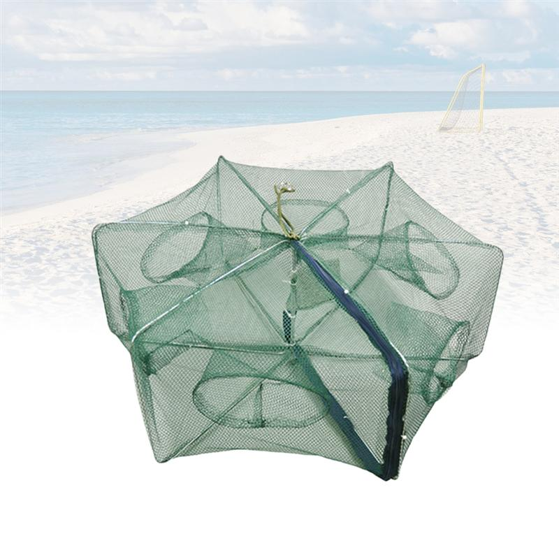 Foldable Bait Cast Mesh Trap Net Fishing Landing Net Shrimp Cage for Fish Lobster Prawn Minnow Crayfish Crab Circle 6 Holes