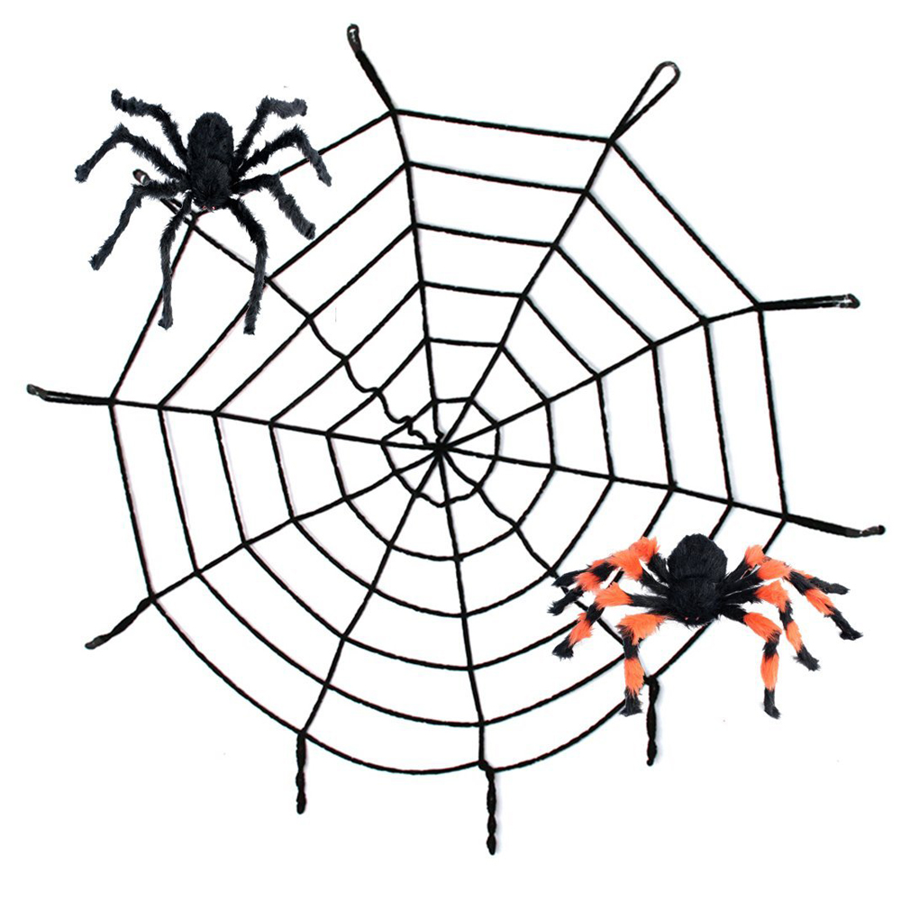 15m3m 1pcs black white halloween spider wed props spider web for party bar - Halloween Spiders