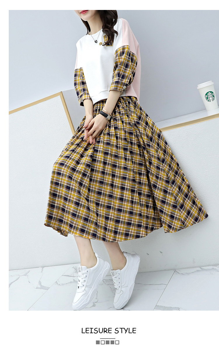 Spring Plaid Two Piece Sets Women Sweatshirt Tops And Pleated Skirt Sets Suits Casual Korean Female Women's Sets Costumes 2019 39