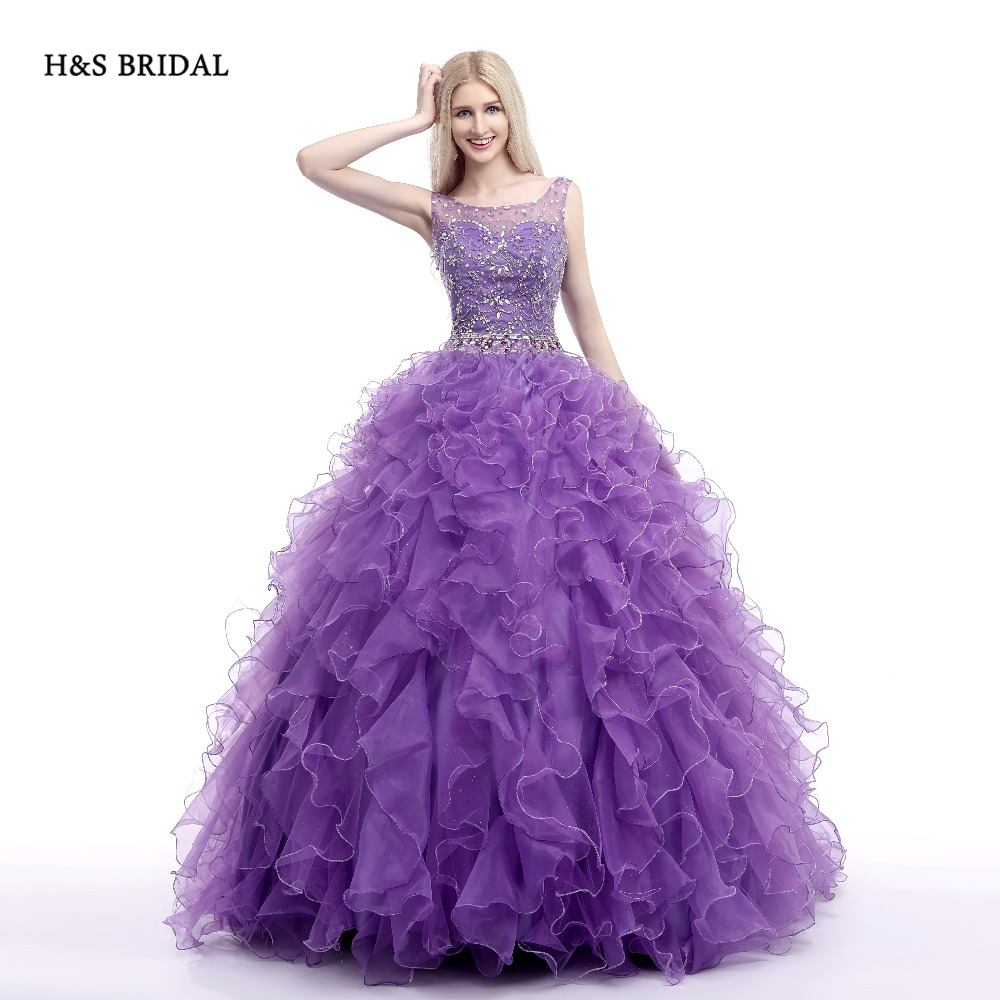 H&S BRIDAL Purple Organza Luxury Sequins quinceanera dresses sweet ...