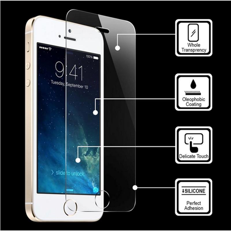 imágenes para 300 unids/lote ultra thin 0.3mm anti-shatter vidrio templado para iphone 7 6 6 s más 5 5S SE 5C Protector de Pantalla de Cine con la Limpieza herramienta