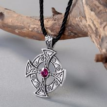 CHENGXUN Viking Cross Pendant Necklace Purple Crystal Love Knot Symbol Egyptian Pendant Odin Celtic Necklace Jewelry(China)