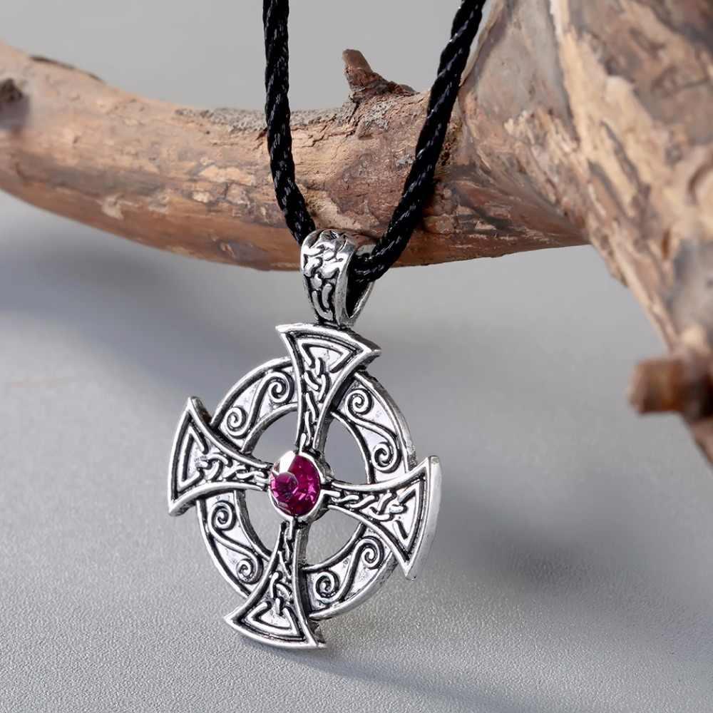 Viking CHENGXUN Lintas Liontin Kalung Ungu Kristal Cinta Odin Celtic Simpul Simbol Mesir Liontin Kalung Perhiasan