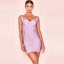 wholesale 2019 summer Newest Women dress purple Spaghetti Strap Fashion mini Celebrity Cocktail party bandage