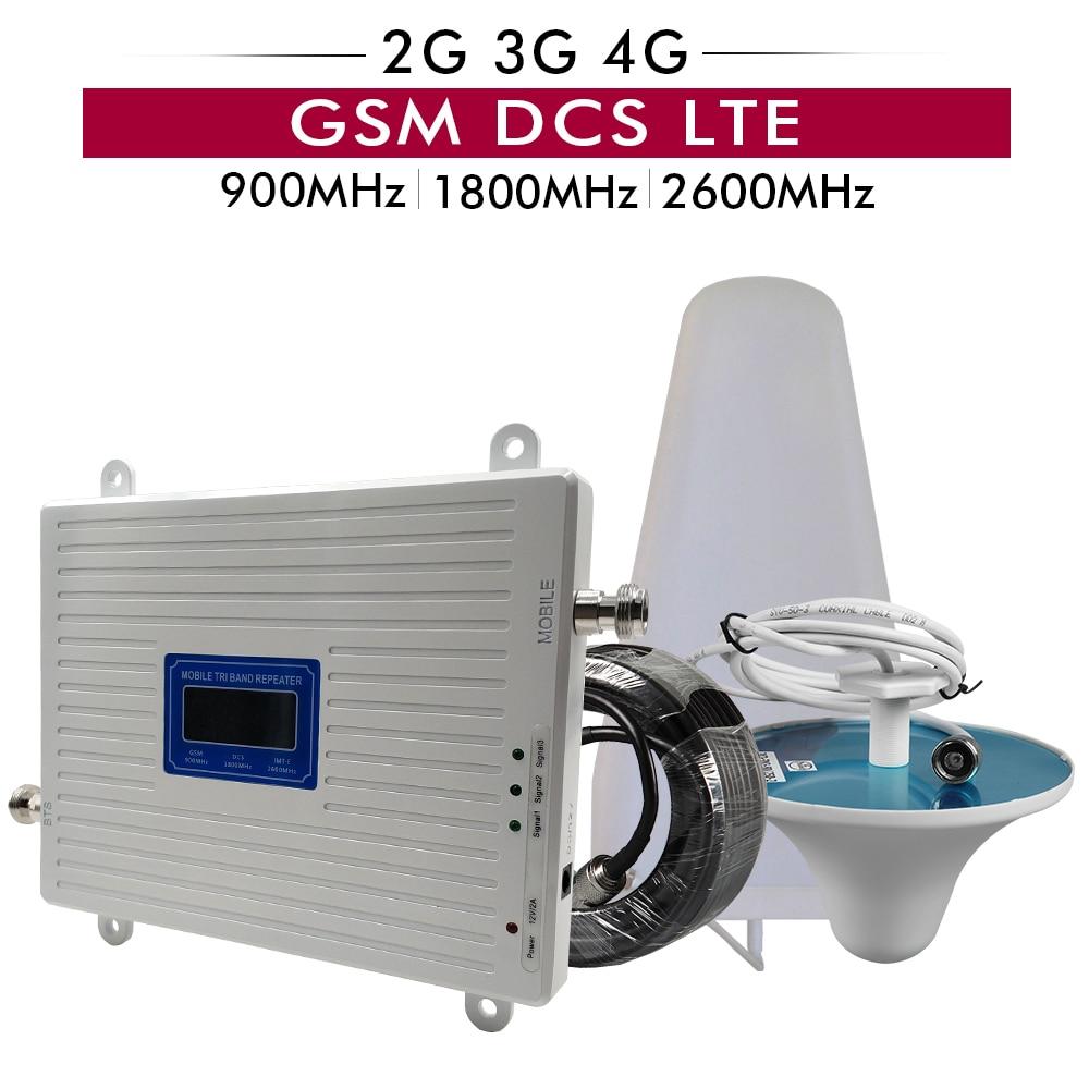 2G 3G 4G Triple Bande Mobile Répéteur de Signal GSM 900 + DCS/LTE 1800 + FDD LTE 2600 Téléphone Portable Signal Booster Mobile Cellulaire Amplificateur