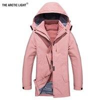 THE ARCTIC LIGHT New 3 in 1 Winter Warm Camping Long Coat Waterproof Ski Snowboard Fishing Hiking Outdoor Jacket Women Windproof