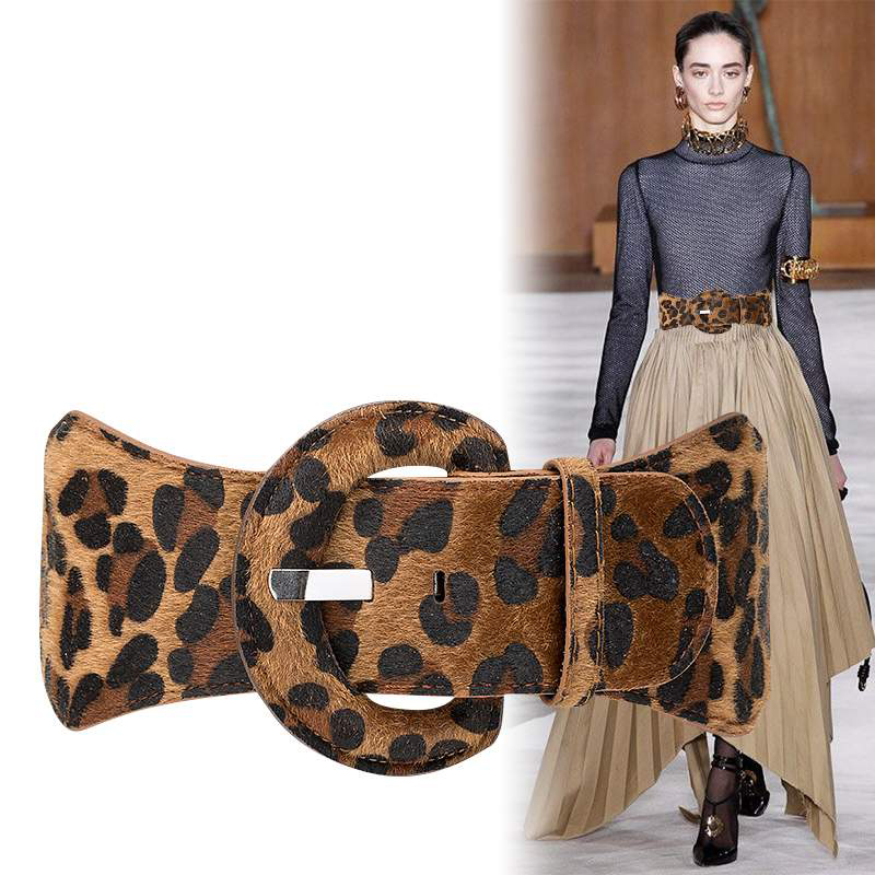 Sweater Leopard Fleece Wide Belts Dress Women Vogue 7.5cm Buckle Free Elastic Belt Ladies High Waist Corset Waistband Overcoats