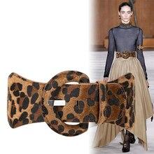 свитер леопардовый флис широкие ремни платье женская мода 7.5 см пряжка свободный эластичный пояс  Лучший!