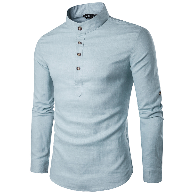 2020 Spring Men Causal Shirt New Arrivals Mandarin Collar Breathable Comfy Traditional Chinese Style Popover Henley EU Size