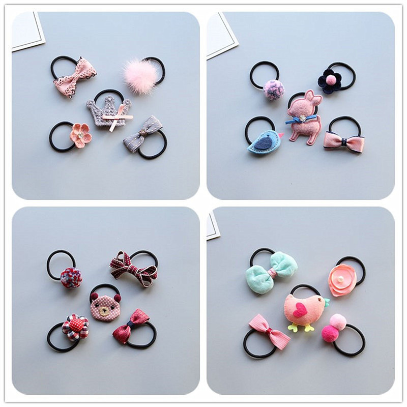 MIXIU 5pcs Lovely Cartoon Baby Girl Elastic Hair Bands Ponytail Holder Children Rubber Band Hair Rope Set Hair Accessories