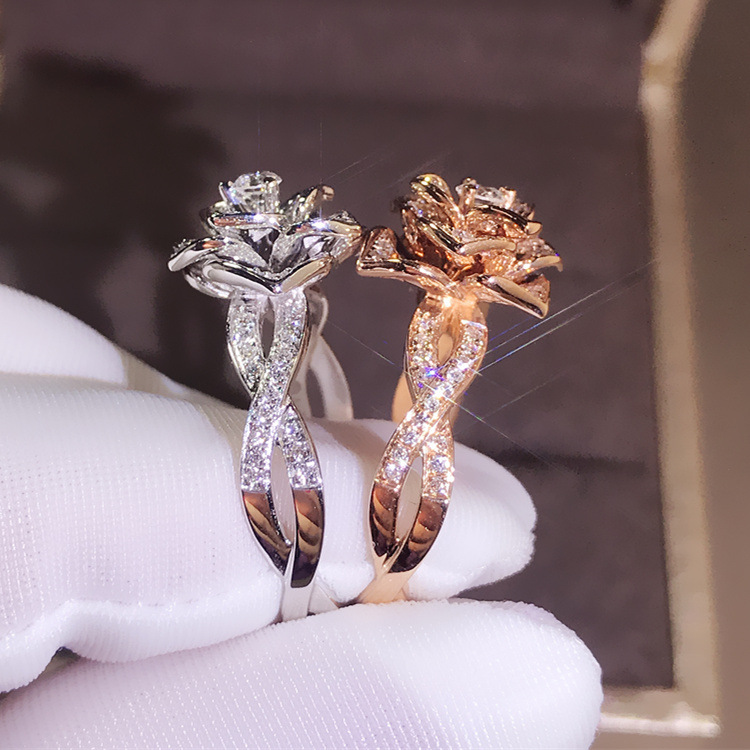 14K Rose Gold Peridot Diamond Ring Rose Flower Shape Engagement Gemstone Bizuteria Anillos 925 sliver Jewelry Ring for women in Rings from Jewelry Accessories