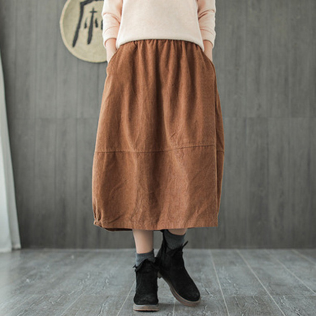 75787f7edac6d Runback Black Woman Midi Skirts Hight Waist Vintage Women Corduroy Skirt  Pockets Side 2019 Autumn Winter Casual Skirts Female