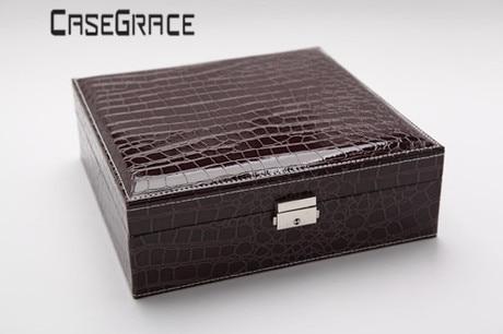 Rectángulo Pu Cuero Caja de almacenamiento de joyería de lujo - Organización y almacenamiento en la casa - foto 4