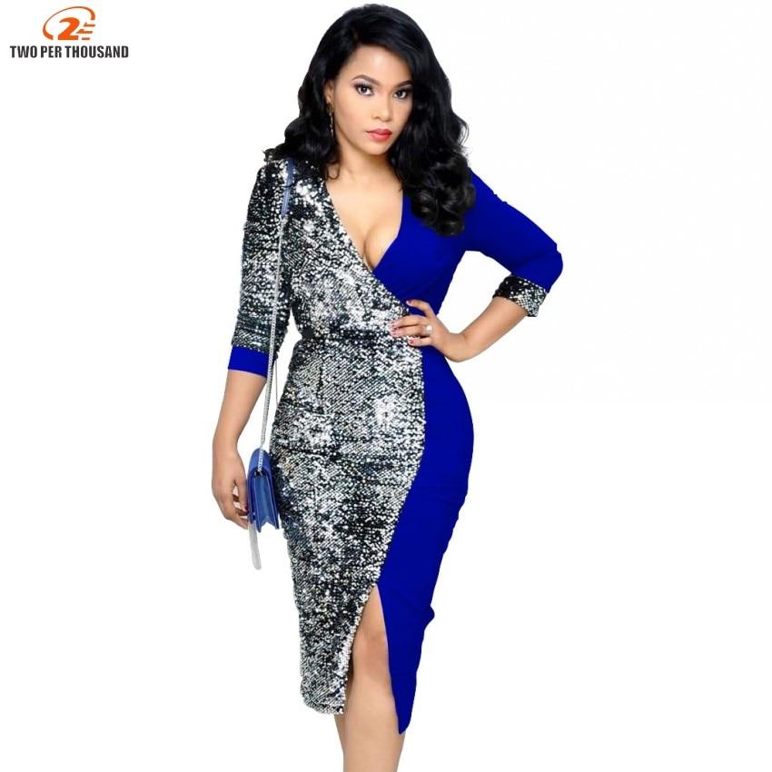 f46fb0a351a8e US $17.40 XURU 2019 spring new sequin dress stitching deep V neck ...