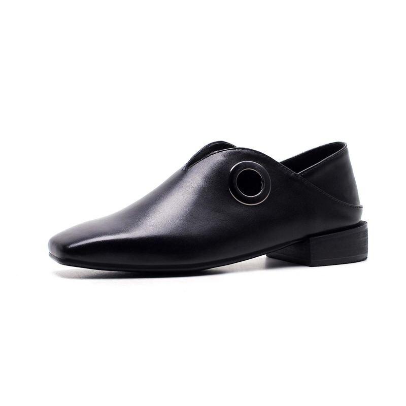 Pop Noir Carré Épais Chaussures 2018 Concis blanc Vache L66 Creux Cuir Cercle Neutre Preppy Bas Bout Style Sur Slip En Pompes Femmes Lenkisen Talon x5Rnw6fw