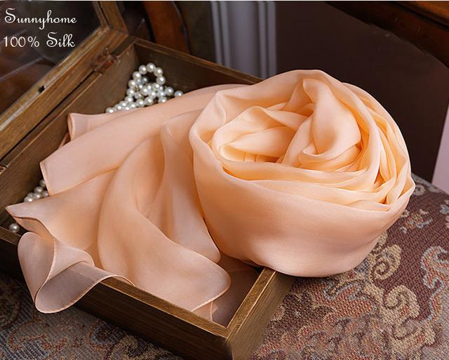 100% lenços de seda pura quadrado hijab turbante bandanas magia cachecol cobertor bonito orange pashminas lenços das senhoras longo inverno