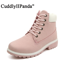 CuddlyIIPanda Brand 2017 New Pink Boots Suede Women Ankle Boots Camouflage Leisue Martin Boots Big Size Boots Botas Mujer