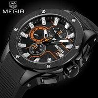 Men Watches 2017 MEGIR Men Sport Watch Chronograph Silicone Strap Quartz Military Big Dial Watches Clock