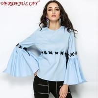Novelty Tops Newest Style 2018 Spring Summer Fashion Women Top Grade Patchwork Flare Sleeve Designer Ladies