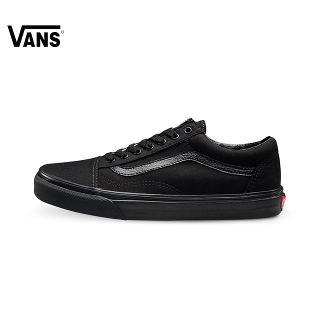 Original Vans off the wall Old Skool Light-weight Low-top black Leather  Stitching classic Skateboarding Shoes Canvas Sneakers 9719e40b1