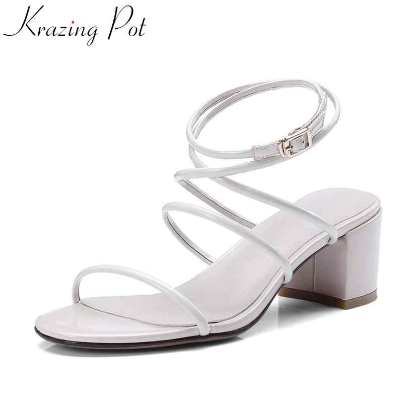 2018 new popular gladiator style cow leather peep toe ankle straps fashion women med heel sandals summer brand causal shoes L80