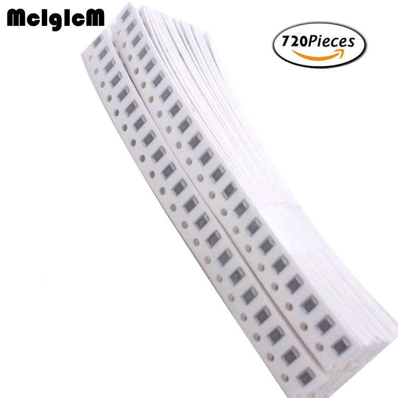 MCIGICM 1206 SMD Resistor Kit 1% 1/4W 0.25W (1 Ohm~10 Mohm) 36 Value * 20pcs =720pcs Chip Resistor Assorted Samples