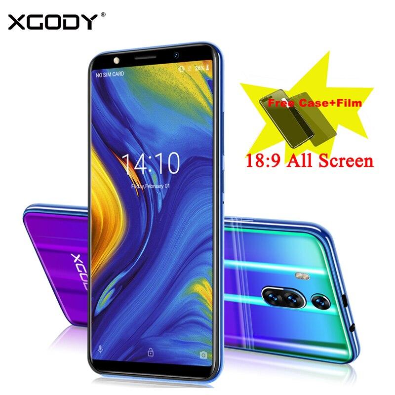XGODY Novo 3G 6 Polegada 18:9 Tela Cheia Do Telefone Móvel Dual Sim Android Smartphones 8.1 GB + 8 1GB 2800mAh 5.0MP Câmera de Telefone Celular