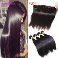 13x4 Ear To Ear Lace Frontal Closure With Bundles Brazilian Virgin Hair Straight With Closure Full Lace Frontal With Baby Hair