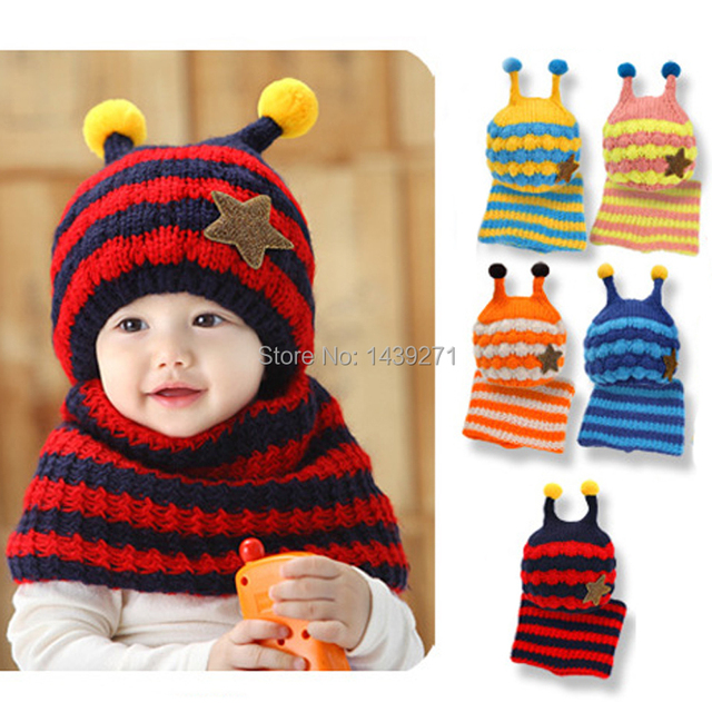 Hot New Cute Honeybee Winter Baby Crochet Hat And Scarf Set Kids