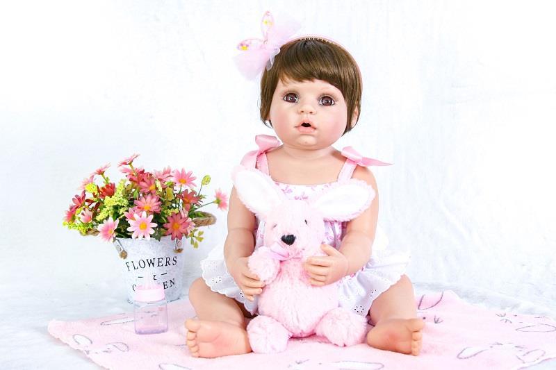 55cm Full Silicone Reborn Baby Doll Toy For Girl Boneca 22inch Vinyl Princess Newborn Babies With Rabbit Birthday Gift Bathe Toy