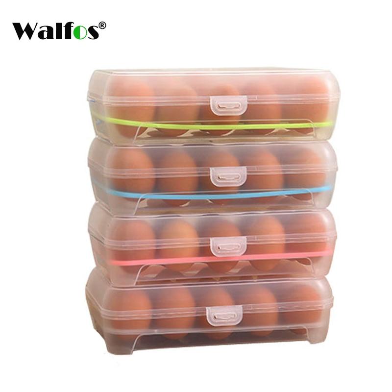 WALFOS 1 PCS Crisper Plastic Egg Container Case Refrigerator Fresh Storage Boxs Kitchen Tools Portable Wild Picnic Egg Organizer