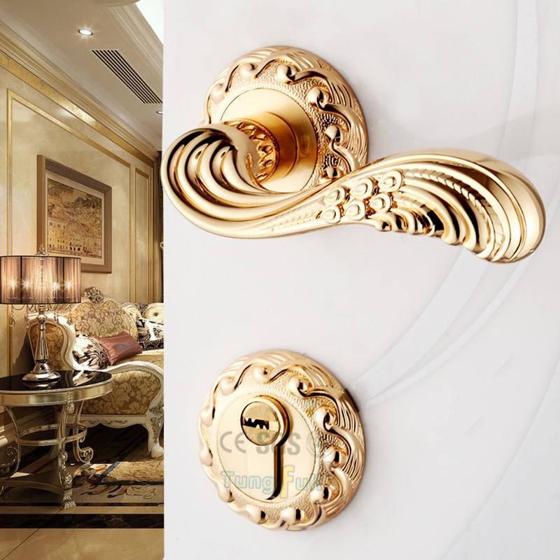 ФОТО Luxury Design European Antique Style Handle Solid Lockset Mechanical Split Handles Lock