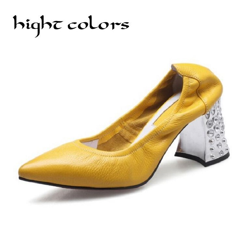 Yellow Women Pumps Brand Women Shoes High Heels Sexy Pointed Toe Genuine Leather Rhinestone Thick High Heels Comfortable Shoes women shoes genuine leather pointed toe high heels women pumps shoes 2018 brand new fashion sexy red women office shoes 2588 a01