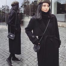 KUEZLE Parkas 2018 Spring Woolen Coat Women Long Female Black Winter Coats Outerwear for  S/M/L/XL/XXL