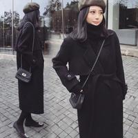 KUEZLE Parkas 2018 Spring Woolen Coat Women Long Woolen Coat Female Black Winter Coats Long Outerwear for Women S/M/L/XL/XXL