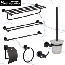 SUS 304 Stainless Steel Bathroom Hardware Sets Black Matte Towel Rail Rack Bar Shelf Paper Holder Toilet Brush Holder Rob bathroom hardware accessories chrome single towel bar rail toilet paper holder shower soap dish pump brush holder glass shelf