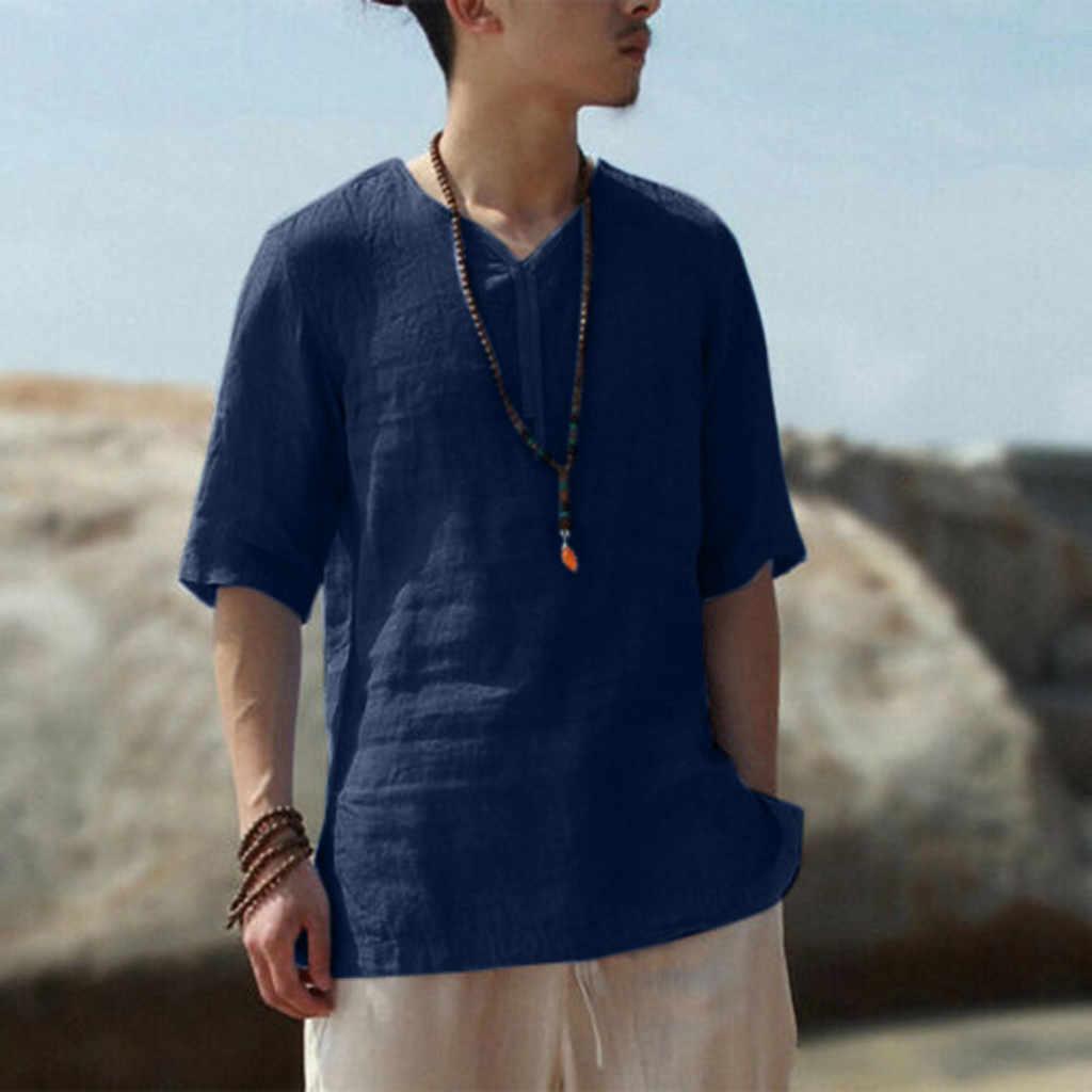 夏男性のシャツ快適なクールと薄型通気性首輪ハンギングスリーブ染色グラデーションコットン男性ブラウストップ camisas masculina