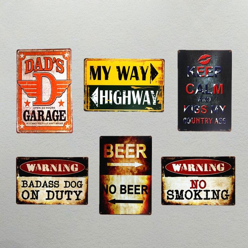 DL предупреждения Garage Винтаж номерных знаков ремесла Металлические Признаки украшения дома аксессуары стикер