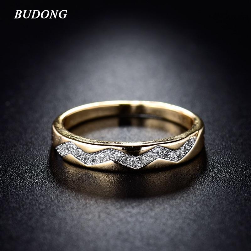 BUDONG divatos női gyűrű Valentin-nap 2017 arany színű gyűrű vintage kristálykocka cirkónia jegygyűrű ékszerek xuR235