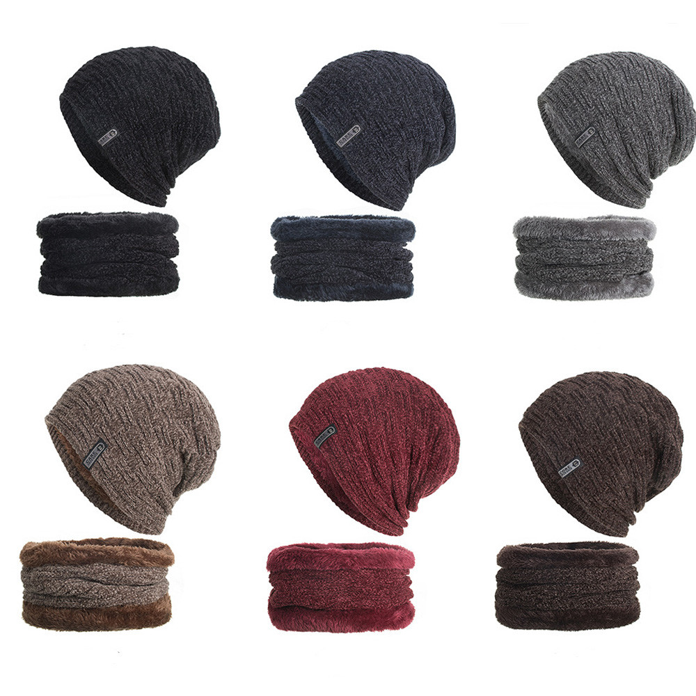 Ishowtienda 2-pieces Winter Beanie Hat Scarf Set Warm Knit Hat Thick Fleece Lined Winter Hat & Scarf Skullies Bonnet For Men #tw Strengthening Sinews And Bones