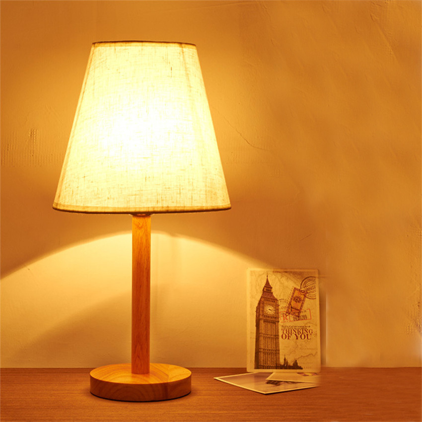 Wooden Study Room: Nordic Modern Cloth Lampshade Wood Table Lamp/study Room
