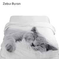 1PCS 3D Duvet Cover 220x240,HD Printing Quilt/Blanket Cover Double/King/Queen,Kids/Baby/Children Bedding Cute animal Sleep cat