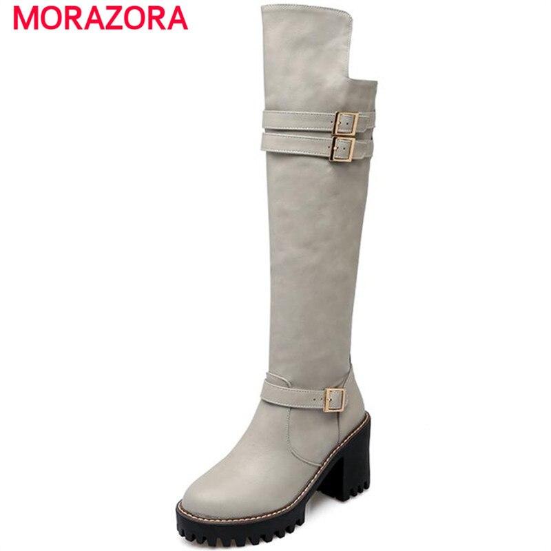 6d1b5dafa37042 MORAZORA 2018 Nouveau hiver confortable contracté femmes bottes plate-forme  chaussures carré talons genou haute bottes boucle pu