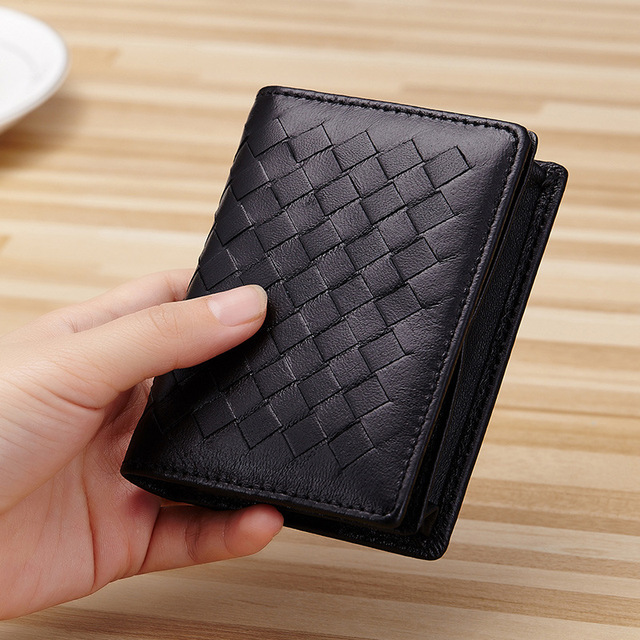 Genuine Goat Leather Weave Business Card Holder Wallets Women Men Credit Driving License Bag Coin
