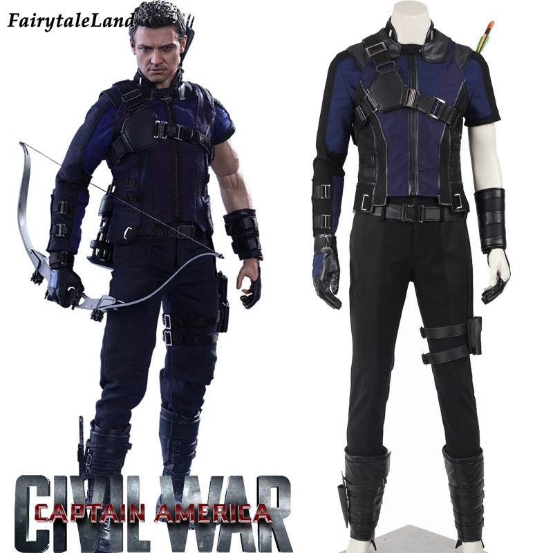 Captain America Civil War Hawkeye cosplay costumes adult ...