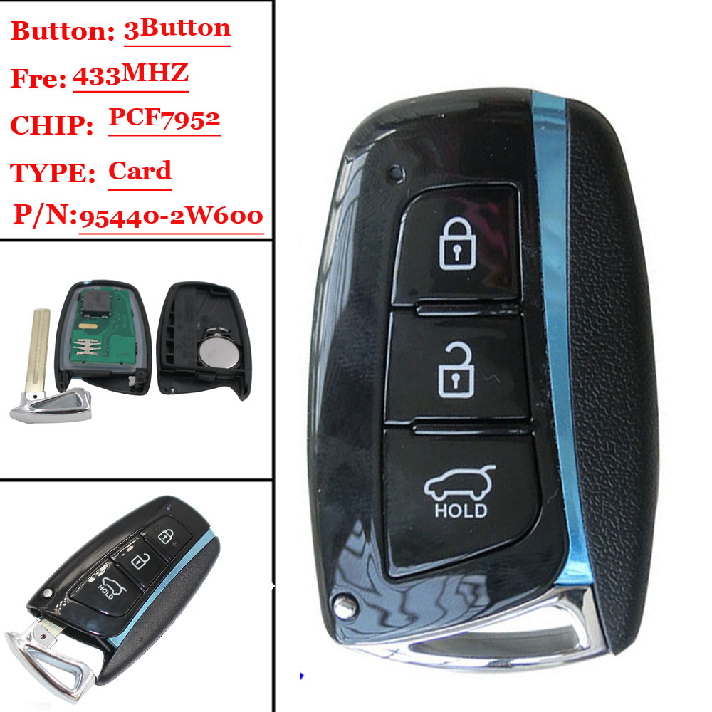Free Shipping (1pcs ) Smart Key Suit For HYUNDAI 95440-2W600 For Santa Fe IX45 433MHz With ID46 (7952) Chip Auto Remote