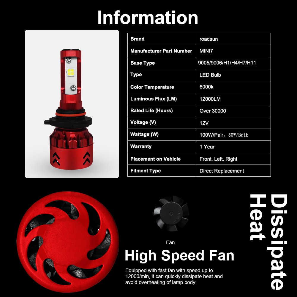 Roadsun H7 H4 רכב LED פנס נורות H11 Led H1 9005 HB3 9006 HB4 X70 שבבי 100W 15000LM פנס ערפל אורות 6000K