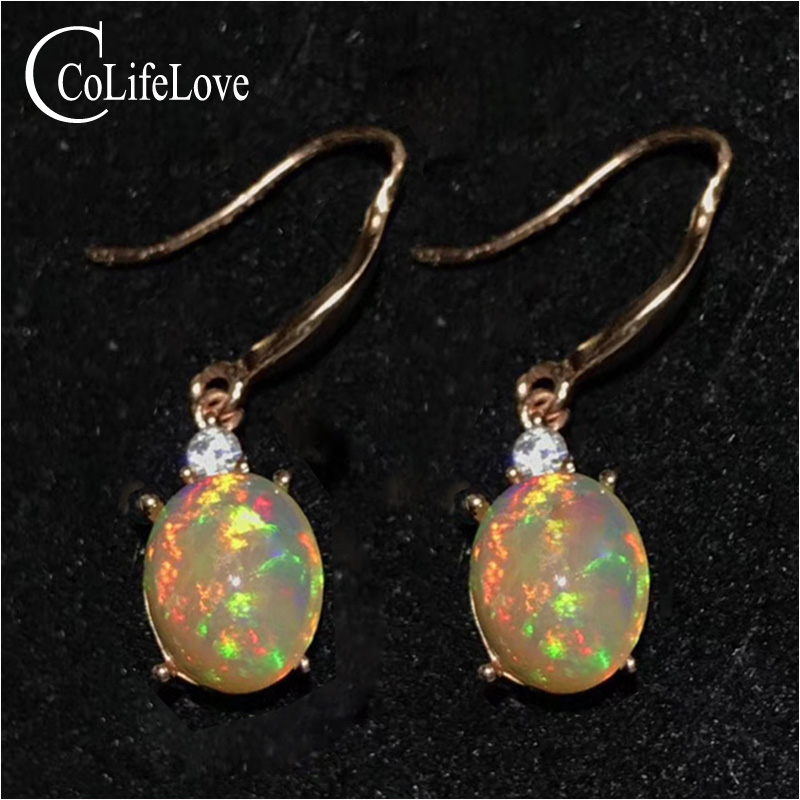 Fashion 925 silver gemstone  drop earrings for wedding 8 mm * 10 mm real natural opal earrings 925 silver opal jewelryFashion 925 silver gemstone  drop earrings for wedding 8 mm * 10 mm real natural opal earrings 925 silver opal jewelry