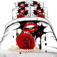yeeKin Hot Sale 3D Bedding Sets 4pcs Duvet Cover Set Red Rose Red Lips Nice Bedclothes Romantic for Adult Bedroom Home Textiles